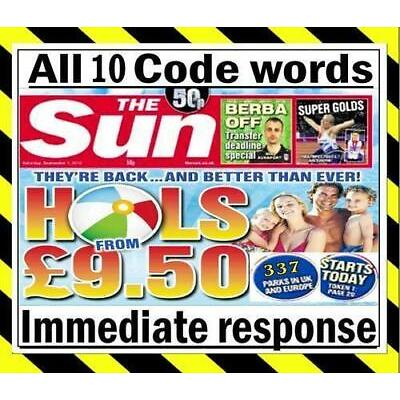 💖 The Sun Holidays Booking Codes £9.50 ALL 7 Token Code Words *Fast Response*