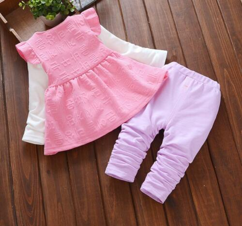 3pcs Spring toddler Baby girls clothes cotton waistcoat+Tee pants kids outfits