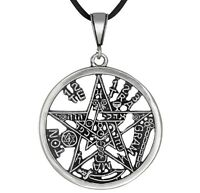 Sterling Silver Tetragrammaton Pentagram Yhwh Pagan Wiccan Pendant Made In Usa