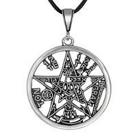 Sterling Silver Tetragrammaton Pentagram Yhwh Pagan Wiccan Pendant Made In Usa