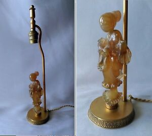 Ancienne Lampe En Verre Souffle Murano Figurant Une Chinoise De