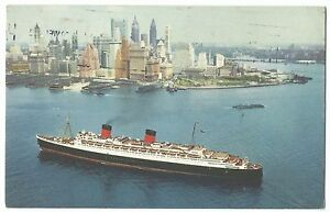 Cunard-RMS-Queen-Elizabeth-PPC-Cherbourg-Paquebot-PMK-1964-to-Standish-Wigan