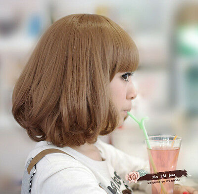 32cm Anime Cosplay Party Women Lady Lovely Short Wavy Hair Full Wigs With Bangs