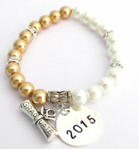 3426e319b Image is loading Graduation-Gift-Bracelet -Personalized-Initial-Year-Charm-College-