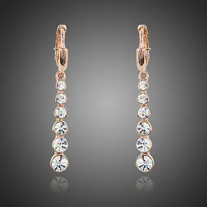 Image Is Loading Sparkly White Austria Crystal Rose Gold Plated Elegant