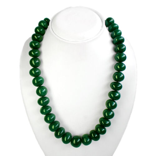 BREATHTAKING QUALITY 1102.00 CTS EARTH MINED ROUND GREEN EMERALD BEADS NECKLACE