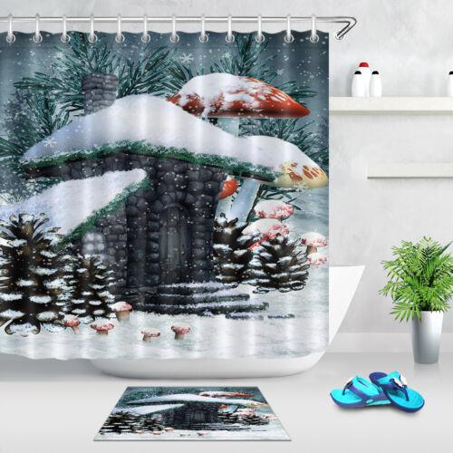 "Mushroom Stone House Winter Snowfall Shower Curtain Fabric 71X71/"" Bath Mat Liner"
