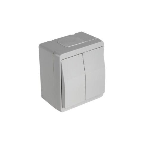 Steckdose Schalter Feuchtraum Aufputz IP44 Doppelschalter Licht Wechsel Taster