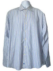 David-Donahue-Men-039-s-size-17-34-35-White-Blue-Dress-Shirt-French-Cuff-XL-X-Large