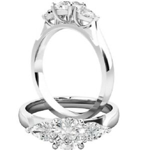0.82 Ct Round Cut Moissanite Engagement Superb Rings 18K Solid White Gold Size 6