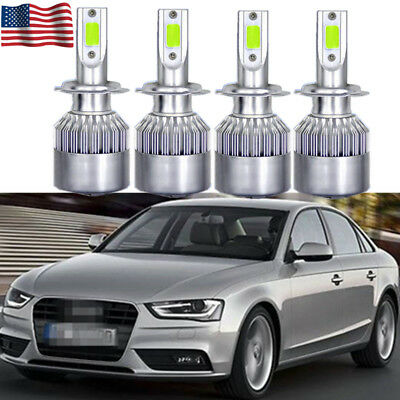 4Pcs White 6000K Bulb COB LED Headlight Hi//Low Beam Kit For Audi A4 1998-2014