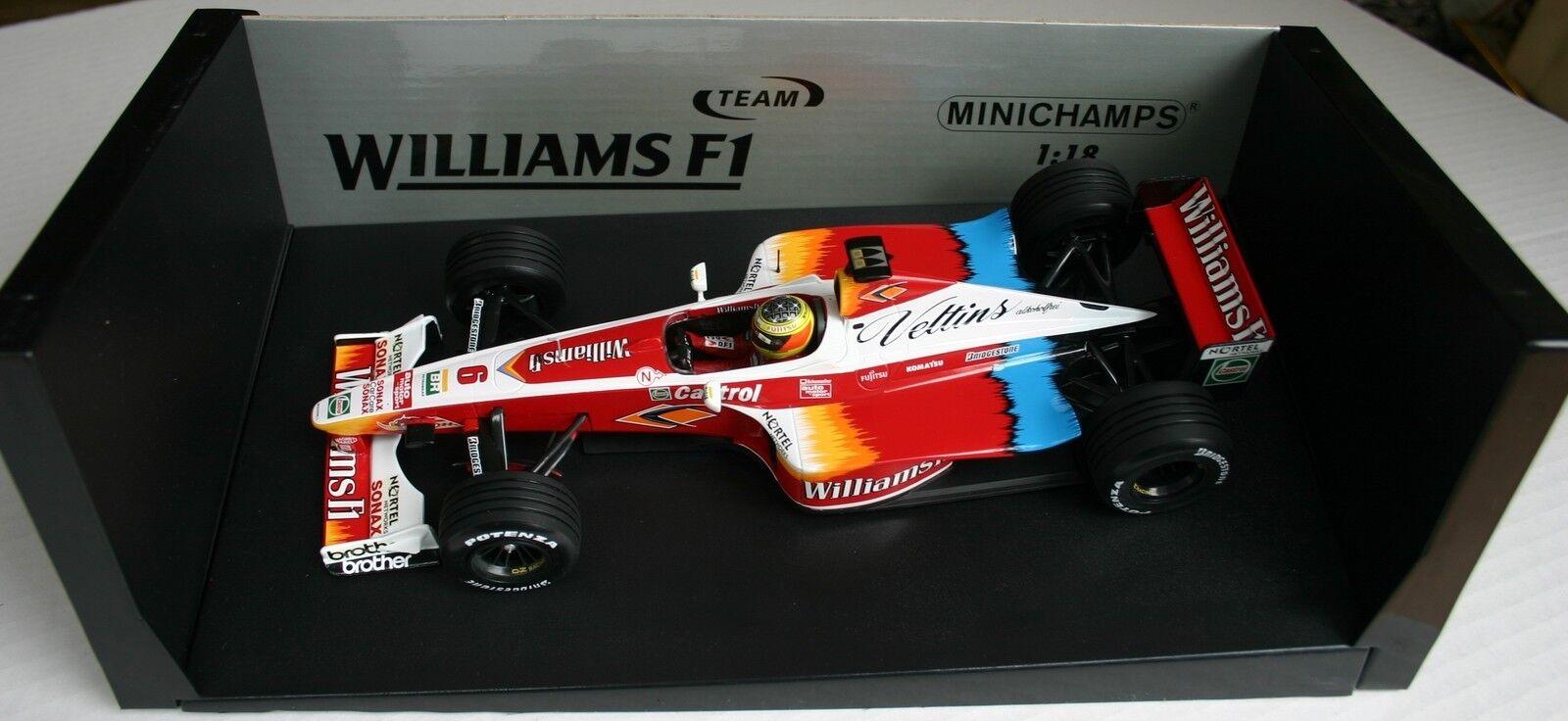 1 18 WILLIAMS FW21 RALF SCHUMACHER 1999 F1 VELTINS MINICHAMPS DISPLAY BOX