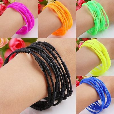 Silicone Rubber Jelly Disco Woman Man Strech Elastic Bracelet Wrists Band U Pick