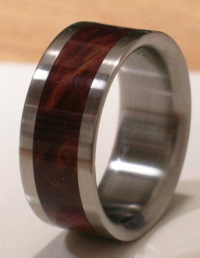 Titanium Ring With Desert Iron Wood Inlay - FREE Ring Box