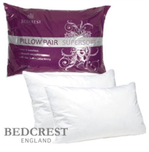 Bedcrest Supersoft Microfibre ow Pair Luxury ows Comfy Comfort