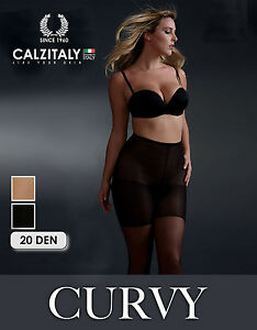 Calze-Taglie-Forti-20-DEN-Collant-Extra-Large-Nero-Naturale-Taglie-Comode