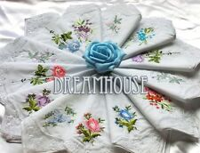 100Pcs Women Lady Vintage Cotton Embroidered Flower Lace Hankies Floral Assorted