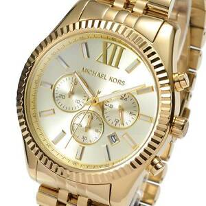 273bb95ef Image is loading New-Michael-Kors-Mens-Watch-Lexington-Gold-Tone-
