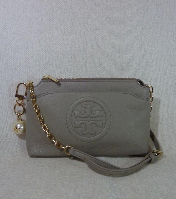 872a301f99d6 NWT Tory Burch French Gray Bombe Chain Cross Body Bag + Pearl Logo Keyfob   470