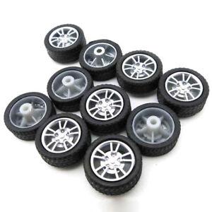 Details about 10pcs 2x16mm Rubber Tires Plastic Model Wheel For DIY Toy Car  Accessories