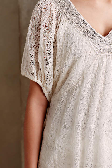 Anthropologie Knitted & Knotted Lace Cille Beaded Lace Top Größe M  Boho