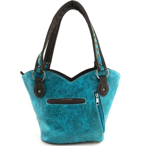 Justin West Turquoise Concho Fringe Tooled Western Shoulder Tote Handbag Purse