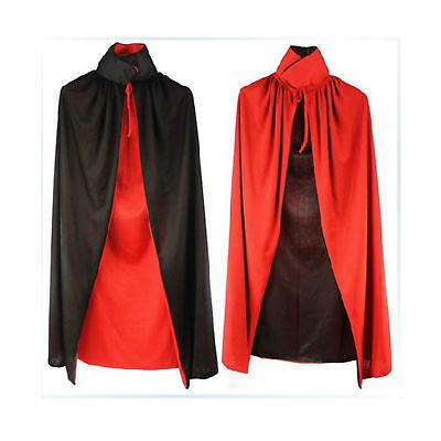 Gentile Halloween Nero Rosso Mantello Da Vampiro Reversibile Dracula Demonio Costume