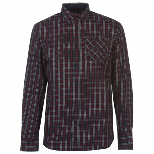 Pierre Cardin Mens Tartan Check Long Sleeve Shirt Casual Cotton Button Placket
