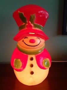 Vintage-Union-Productions-Blow-Mold-Snowman-With-Vintage-Garland
