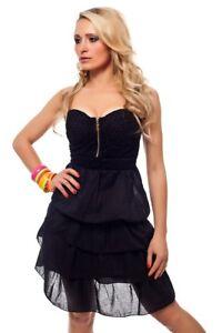 Bandeau Mini Kleid Sommerkleid Volants Baumwolle Strandkleid in Beige