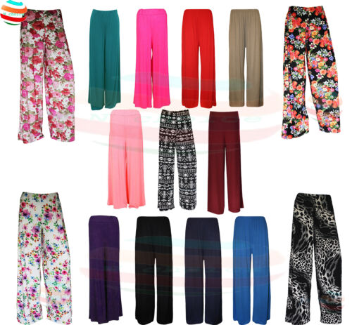 Womens Plain Plazzo FLORAL PRINT ELASTICATED Trousers Lounge Wear Pants lot size