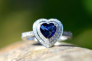 New-18ct-WG-1-12-Blue-sapphire-and-0-60-Diamond-Ring