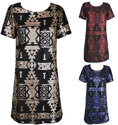 New Sequin Tribal Aztec Print Short Sleeve Mini Tunic Party Dress UK 8 10 12 14