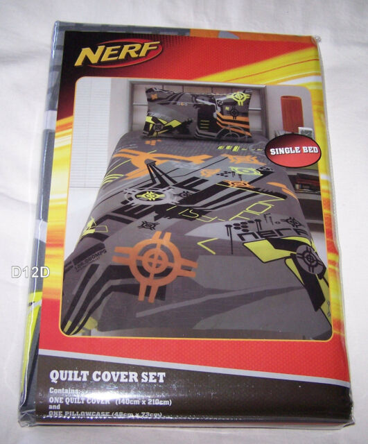 Nerf Gun Grey Printed Single Bed Quilt Cover Set New *Super Special*