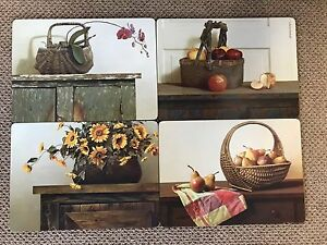 4-Deluxe-Placemats-Cork-Backed-Bountiful-Baskets-Design-12x16