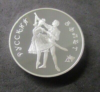 3 Rubles Russia 1993 1 oz Silver Russian ballet Unc