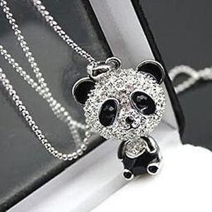 Fashion-Rhinestone-Crystal-Chain-Cute-Panda-Sweater-Animal-Pendant-Necklace-Gift