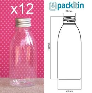 12-x-100ml-CLEAR-TAPERED-PLASTIC-BOTTLES-screw-top-lids-tableware-for-party