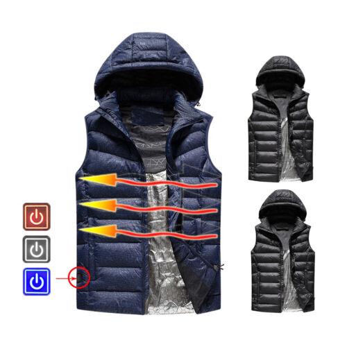 Winter Warm Men Electric Heating Vest Temp Control USB Hooded Heated Coat Jacket