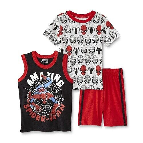 2T,3T/& 4T NWT Spider-Man Toddler Boys/' T-Shirt Tank Top /& Shorts Sz