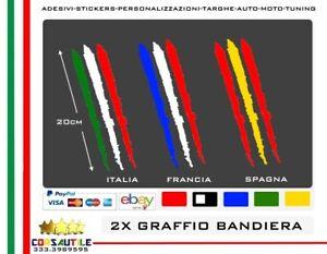 ADESIVO-PRE-SPAZIATO-BANDIERA-TRICOLORE-FORMA-GRAFFIO-CARROZZERIA-A-SCELTA-2-PZ