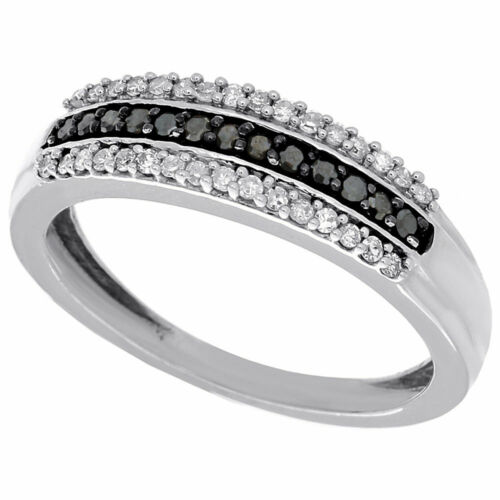 Details about  /Black /& White Diamond Cocktail Band .925 Sterling Silver Ring 0.26 Ct.
