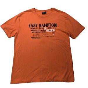 Vtg-Ralph-Lauren-East-Hampton-Shirt-Sz-Medium-Orange-Blue-Short-Sleeve-Tee