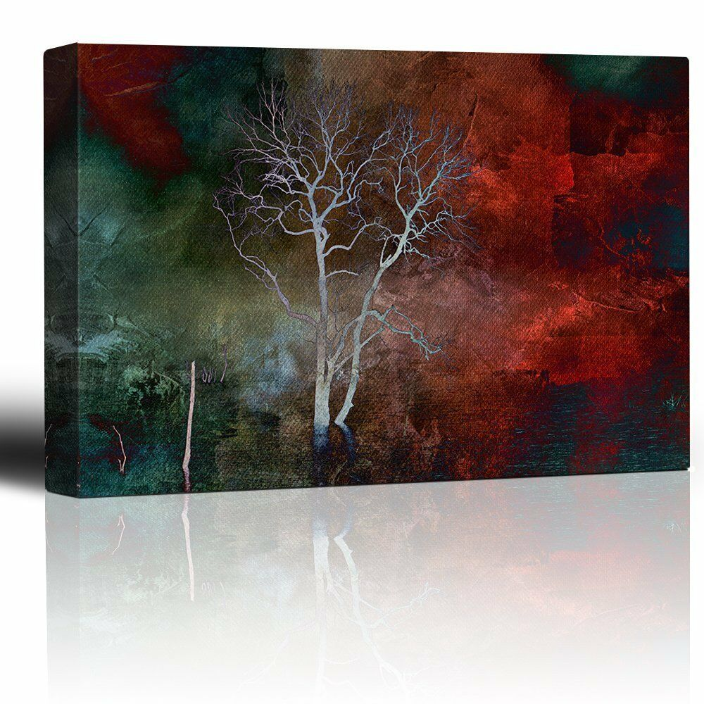 Lone Tree Over a rot and Teal WaterFarbe Paint - Canvas Art Home Decor - 32x48