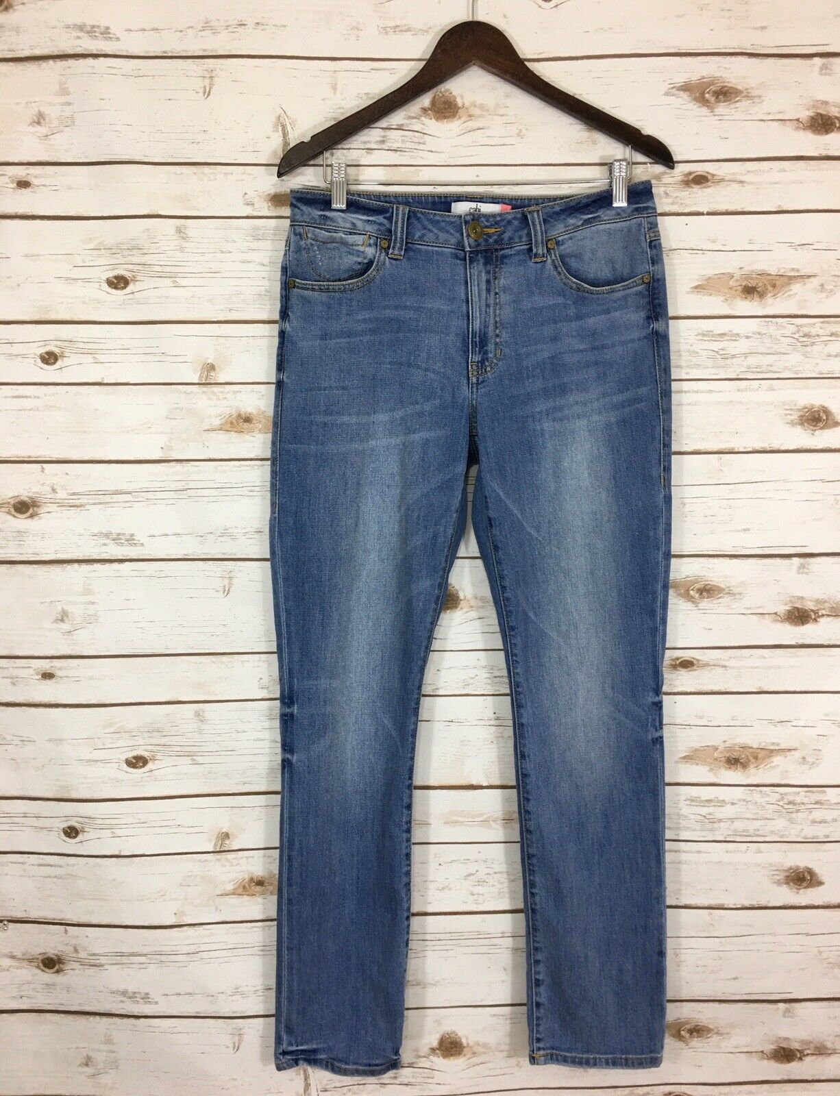 Woman's CAbi Size 8 High Rise Straight Stretch Jeans Light Wash bluee