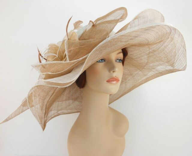 New Woman Church Derby Wedding Sinamay 3 Layers Dress Hat 3534 Off White / Taupe