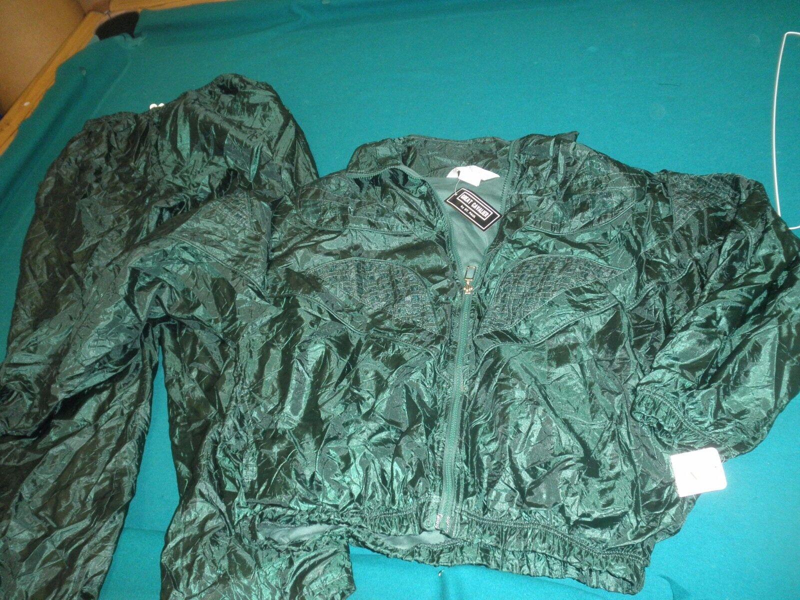 Vtg.NWT Great Cavalier by St. Paul 2 Piece Denim Pants Suit L GREEN
