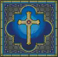 Cross Stitch Chart gold Cross Painted Stained Glass No. 15-110 (large Print)