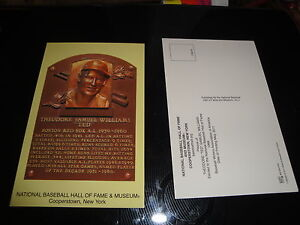 Ted Williams Hof Hall Of Fame Post Card Plaque Redsox Ebay