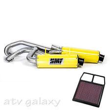 HMF Can Am BRP Commander 1000 2011 - 2013 Yellow Black Dual 3/4 Exhaust K&N